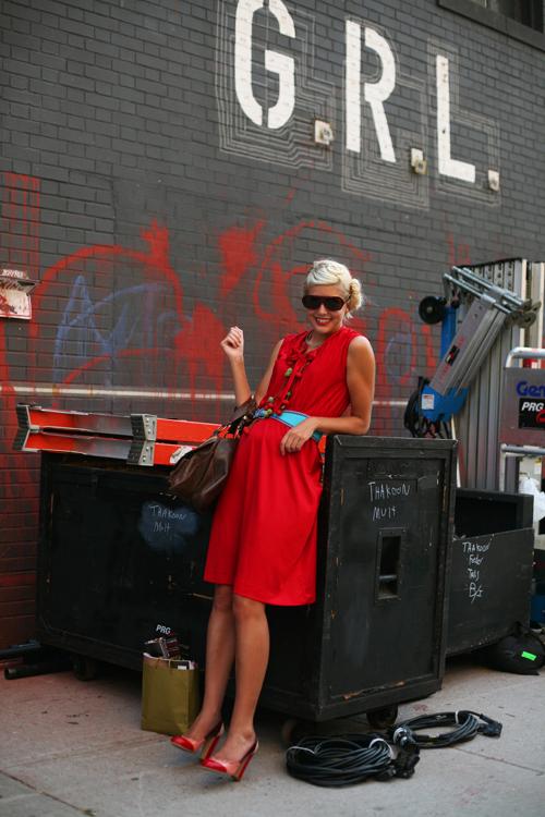 red dress sartorialist