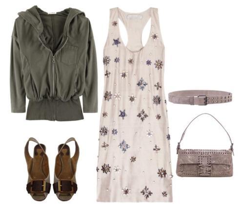 stella mccartney vestido con pedreria look de dia bolso fendy zapatos chloé